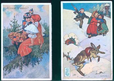 25A347  Malovaná pohlednice Veselé vánoce 2ks