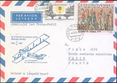 10L372 Letecký dopis 60. výročí 1. letu Praha - Paříž