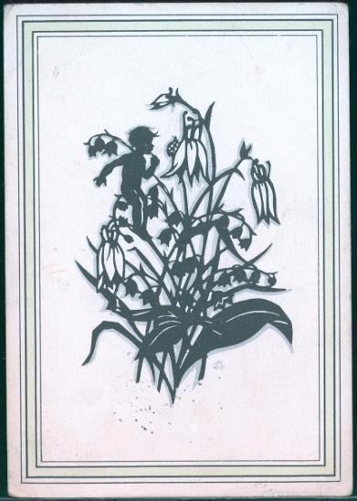 25A324 Umělecká pohlednice- černotisk , petrklíč a dítě