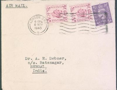 17B1 letecký dopis z Londýna do Batanagar / Belgická Indie
