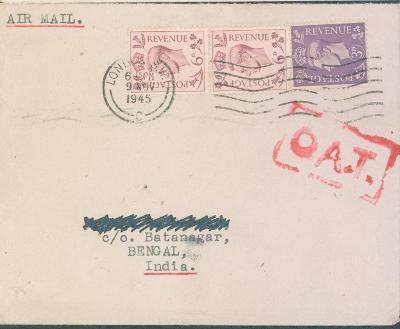 17B2 letecký dopis z Londýna do Batanagar / Belgická Indie
