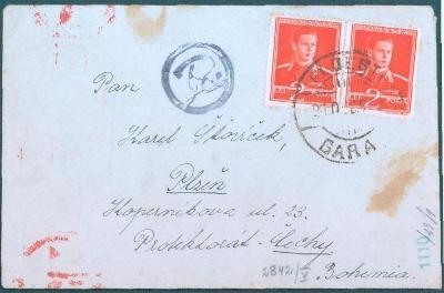 17B149 R dopis Rumunsko do Plzně, vzadu červené razítko cenzura