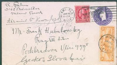 20B19 Celinový dofrankovaný dopis Miami, Florida - Praha