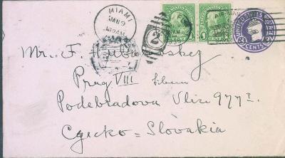 20B20 Celinový dofrankovaný dopis Miami, Florida - Praha