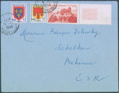 17B224 Dopis z Pas de Calais / Francie do Sobotky, dekorativní