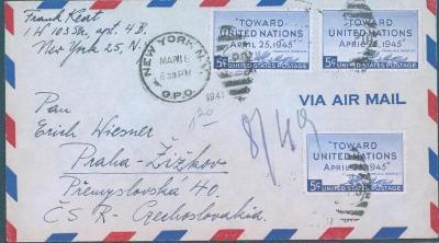 20B4 Letecký dopis New York - Praha