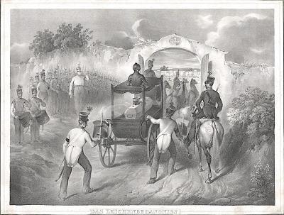Pohřeb vojenský, litografie, (1860)