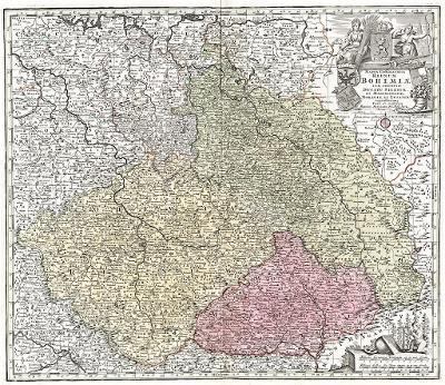Seutter G.M.: Reg. Bohemiae, kolor. mědiryt, 1740