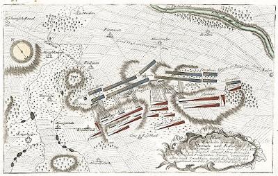 Kolín bitva plán,   Kilian,mědiryt, 1759