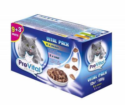 PreVital kapsa kočka 12-pack100g-kuře+tele+losos