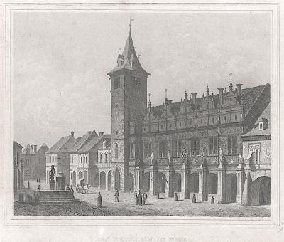 Most – radnice, Schimmer,  oceloryt, 1842