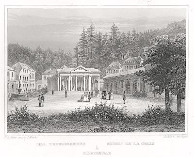 Mariánské lázně Křížový , Lange, oceloryt, 1842