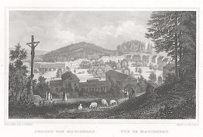 Mariánské lázně, Lange, oceloryt, 1842