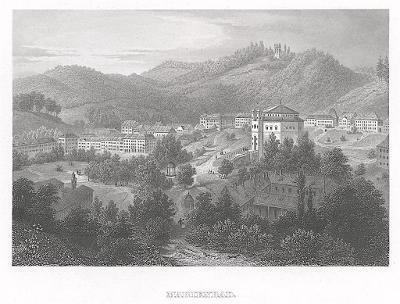 Mariánské lázně. Meyer, oceloryt, 1850