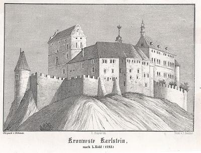 Karlštejn, Glückselig, litografie, 1854