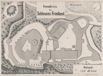 Frýdlant půdorys, Heber, litografie, 1843