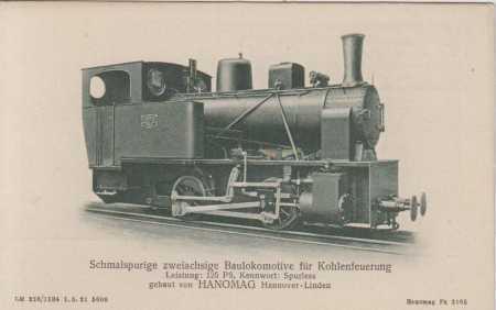 Úzkorozchodná dvounápravová lokomotiva- uhlí (Hano