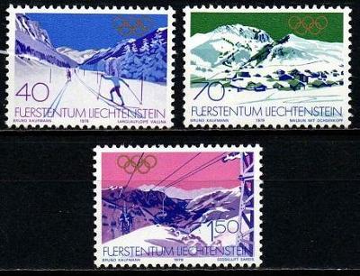 ** LICHTENŠTEJNSKO: Série olympiáda LAKE PLACID 1980, kat. 4,40 Mi€
