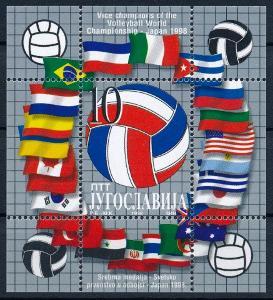 Jugoslávie 1998 **/Mi. Block 48 , sport , volejbal , vlajky ,  /L23/