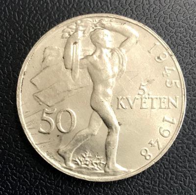 Stříbrná mince 50 Kčs 1948, stříbro - Ag. Perfektní stav