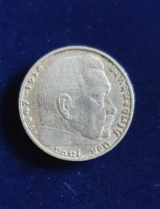 2 Marka 1938 A, Paul von Hindenburg, super stav, stříbrníá