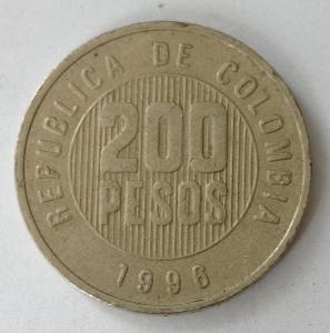 Kolumbie 200 pesos 1996 KM# 287