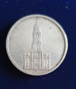 5 Marka (Reichsmark) s kostelem 1935, stříbrná
