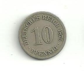 10  Pfennig Německo 1875 A