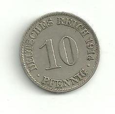 10  Pfennig Německo 1914 A