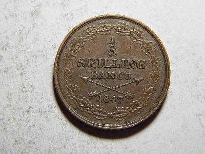 Švédsko ⅓ Skilling Banco 1847 RR Oscar I. Johan XF č35644