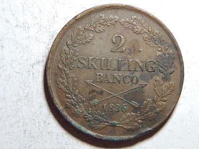 Švédsko 2 Skilling Banco 1836 Carl XIV. Johan VF-XF č35639