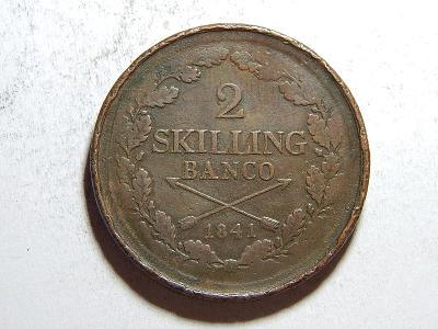 Švédsko 2 Skilling Banco 1841 Carl XIV. Johan RRR VF č35640
