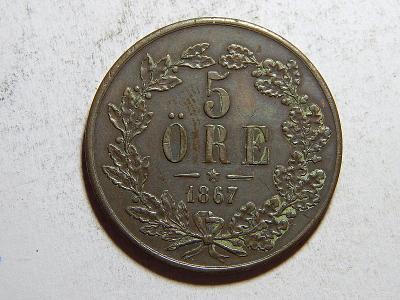 Švédsko 5 Öre 1867 L.A. Carl XV. RR XF č35641