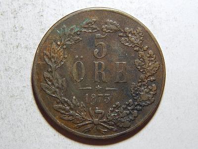 Švédsko 5 Öre 1873 Carl XV. VÁCNÝ VF-XF č35642
