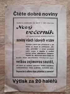 reklamní leták - NOVÝ VEČERNÍK - rok 1939 cca