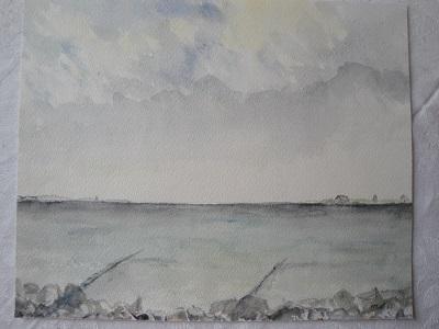 krajina u vody - akvarel