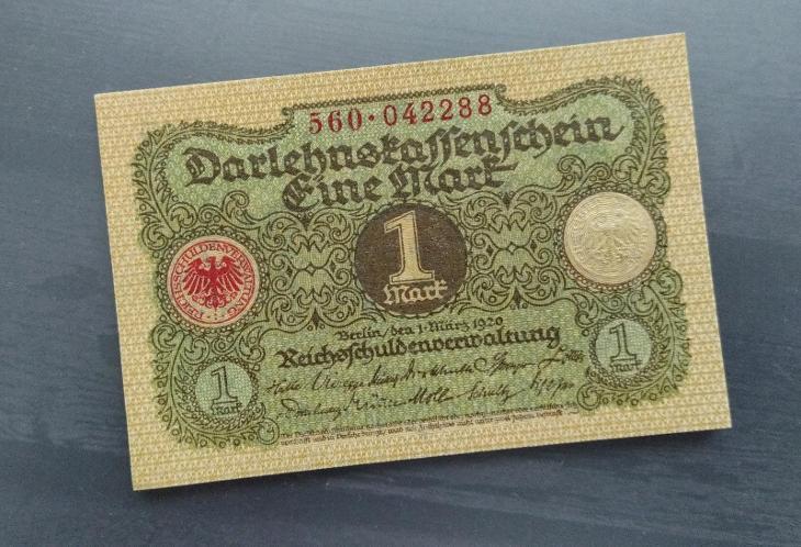 UNC NĚMECKO 1 Mark 1920 - Bankovky