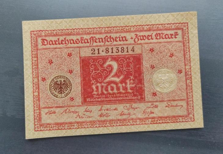UNC NĚMECKO 2 Mark 1920 červená - Bankovky