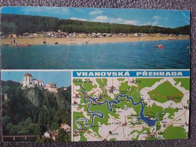 Pohlednice VRANOVSKÁ PŘEHRADA mapa