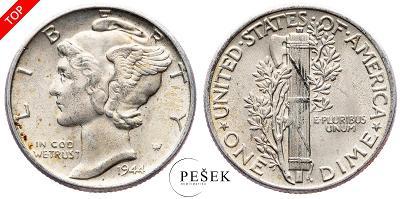 🔥 (Z863) USA, Dime (10 Cent), Mercury, 1944 (Ag 900/1000, 2,5g)