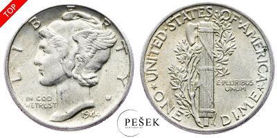 🔥 (Z868) USA, Dime (10 Cent), Mercury, 1944 (Ag 900/1000, 2,5g)