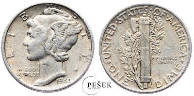 🔥 (Z870) USA, Dime (10 Cent), Mercury, 1945 (Ag 900/1000, 2,5g)