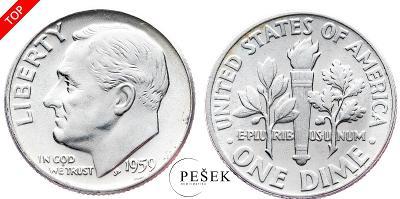 🔥 (Z887) USA, Dime (10 Cent), Roosevelt, 1959 (Ag 900/1000, 2,5g)
