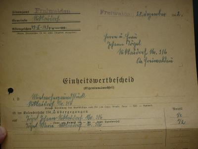 1942 PROTEKTORAT BuM FREIWALDAU JESENÍK KRNOV BRUNTAL starý doklad!!RR