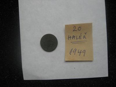 20 haléř - rok ražby 1949 - z peněžního oběhu - mince nečištěná