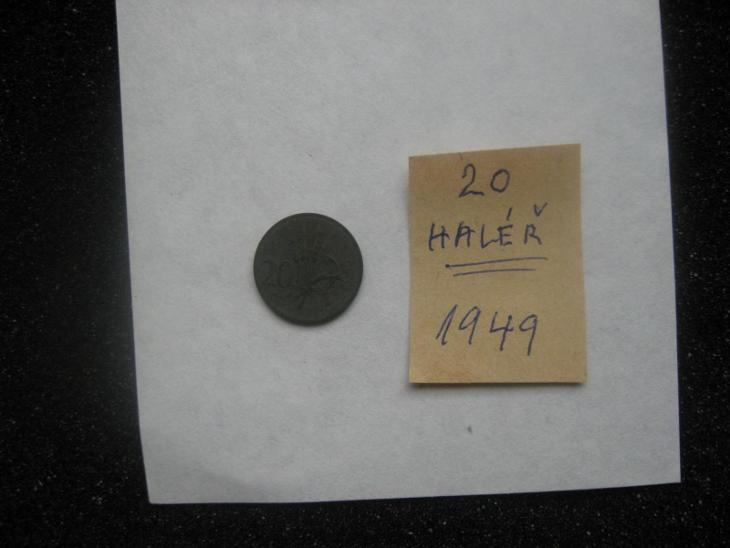 20 haléř - rok ražby 1949 - z peněžního oběhu - mince nečištěná  - Numismatika