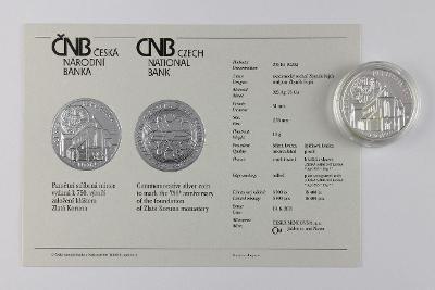 KLÁŠTER ZLATÁ KORUNA 2013 // BK // 200 Kč pamětní stříbrná mince ČR