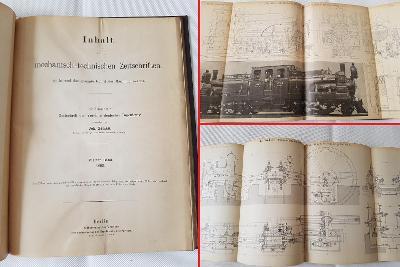Technické obr. přílohy 1893-1894 RU lokomotivy železnice pivovar pumpa