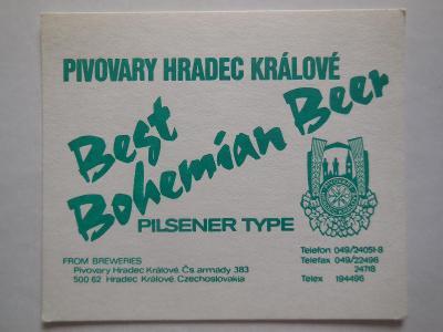 PE-Hradec Králové- Best Bohemian Beer-silný tvrdý papír