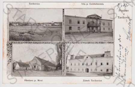 Tavíkovice - celkový pohled, vila Goldschmied, hos